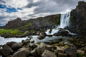 Thingvellir National Park features an amazing waterfall.